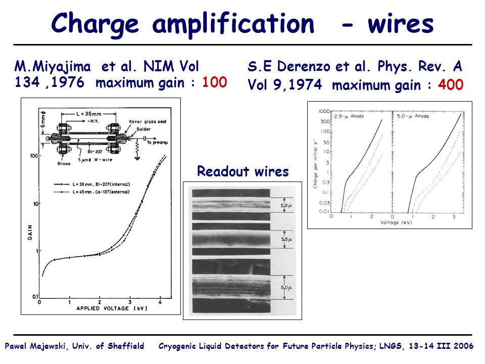 Charge amplification - wires S.E Derenzo et al. Phys.