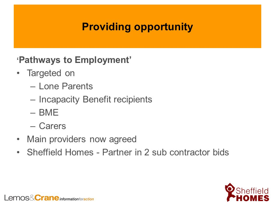 Providing opportunity ' Pathways to Employment' Targeted on –Lone Parents –Incapacity Benefit recipients –BME –Carers Main providers now agreed Sheffi