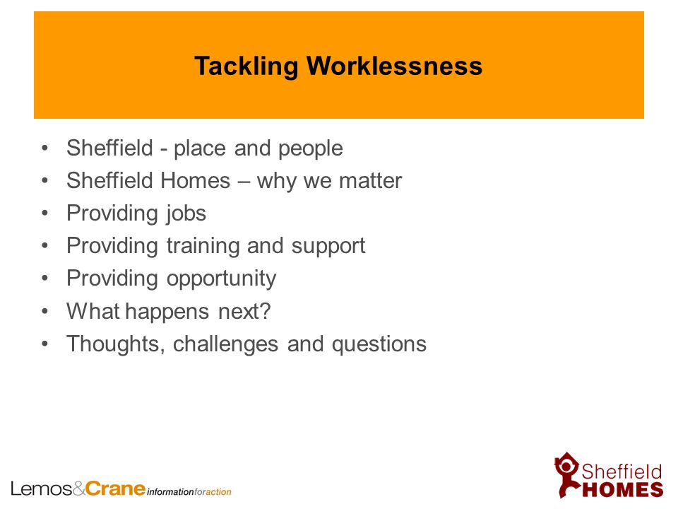 Tackling Worklessness Sheffield - place and people Sheffield Homes – why we matter Providing jobs Providing training and support Providing opportunity