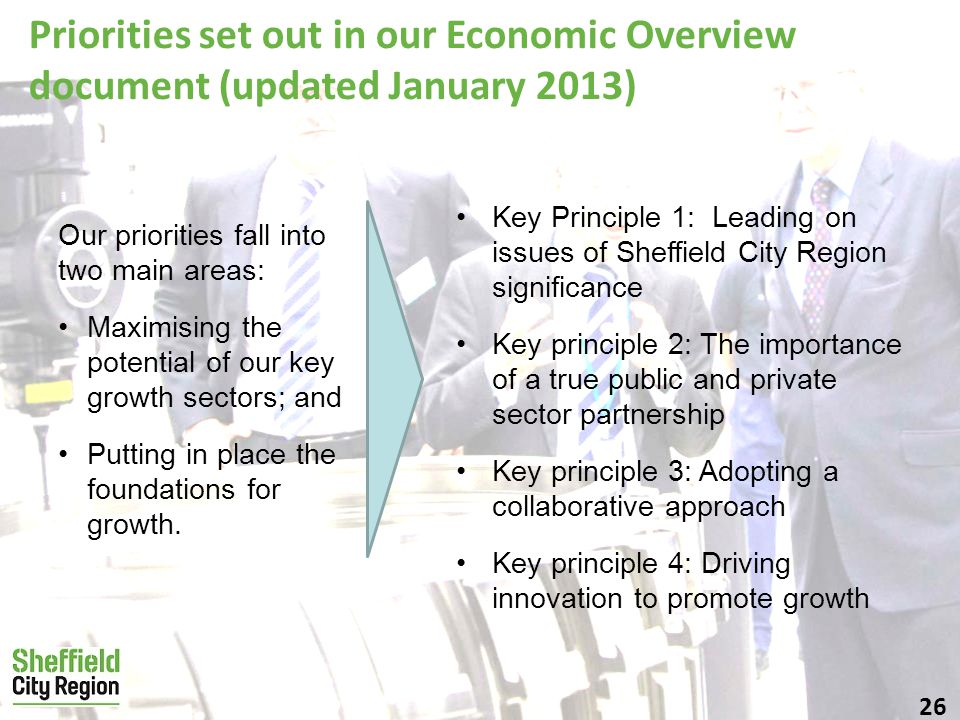 26 Priorities set out in our Economic Overview document (updated January 2013) Our priorities fall into two main areas: Maximising the potential of our key growth sectors; and Putting in place the foundations for growth.