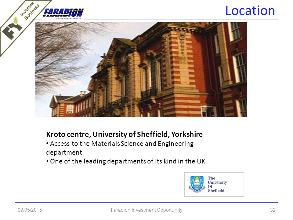 09/05/2015Faradion Investment Opportunity32 Kroto centre, University of Sheffield, Yorkshire Access to the Materials Science and Engineering department One of the leading departments of its kind in the UK Location Investee Business