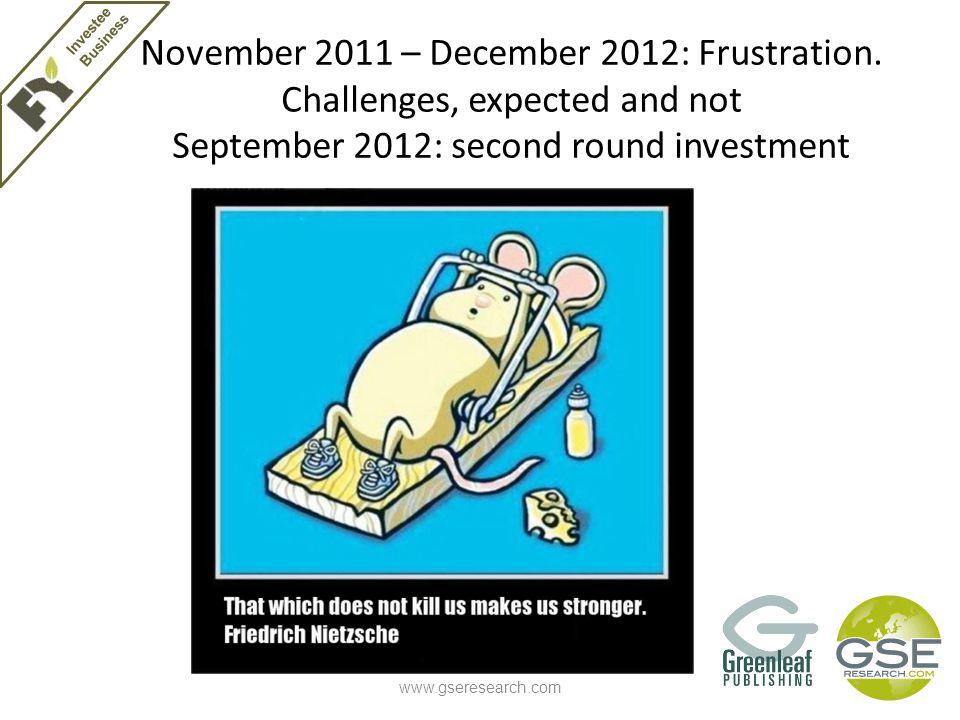 November 2011 – December 2012: Frustration.