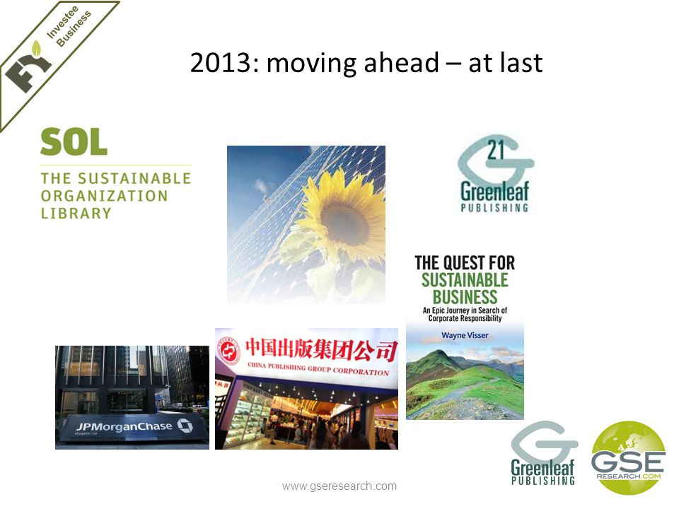 2013: moving ahead – at last www.gseresearch.com Investee Business