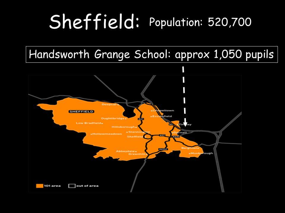 Sheffield: Handsworth Grange School: approx 1,050 pupils Population: 520,700