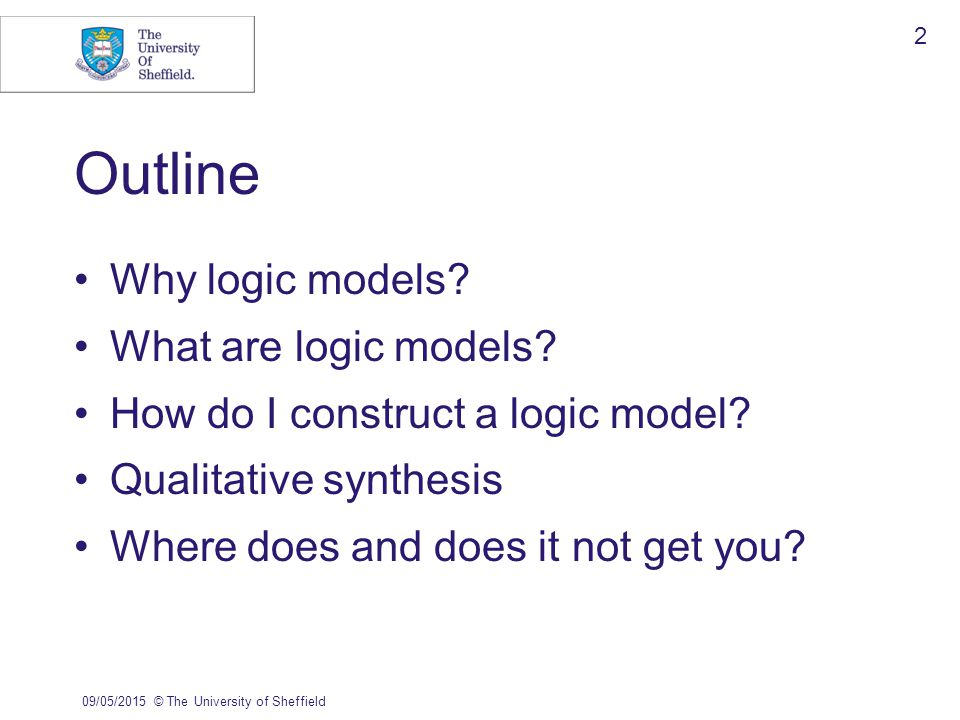 09/05/2015© The University of Sheffield 2 Why logic models.