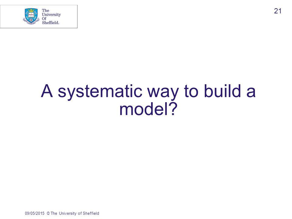 A systematic way to build a model 09/05/2015© The University of Sheffield 21