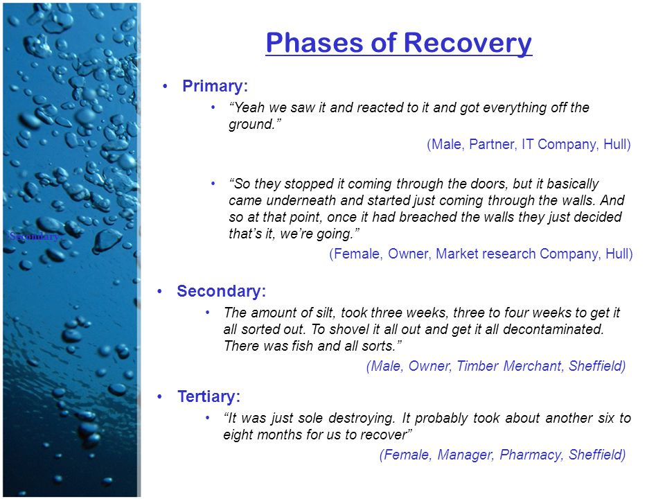"Phases of Recovery Primary: ""Yeah we saw it and reacted to it and got everything off the ground."" (Male, Partner, IT Company, Hull) ""So they stopped i"