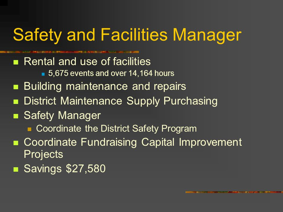 Safety and Facilities Manager Rental and use of facilities 5,675 events and over 14,164 hours Building maintenance and repairs District Maintenance Supply Purchasing Safety Manager Coordinate the District Safety Program Coordinate Fundraising Capital Improvement Projects Savings $27,580