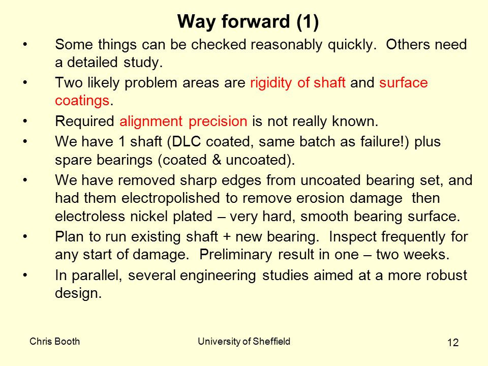 Chris BoothUniversity of Sheffield 12 Way forward (1) Some things can be checked reasonably quickly. Others need a detailed study. Two likely problem
