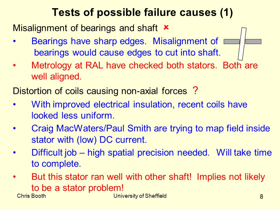 Chris BoothUniversity of Sheffield 8 Tests of possible failure causes (1) Misalignment of bearings and shaft  Bearings have sharp edges. Misalignment