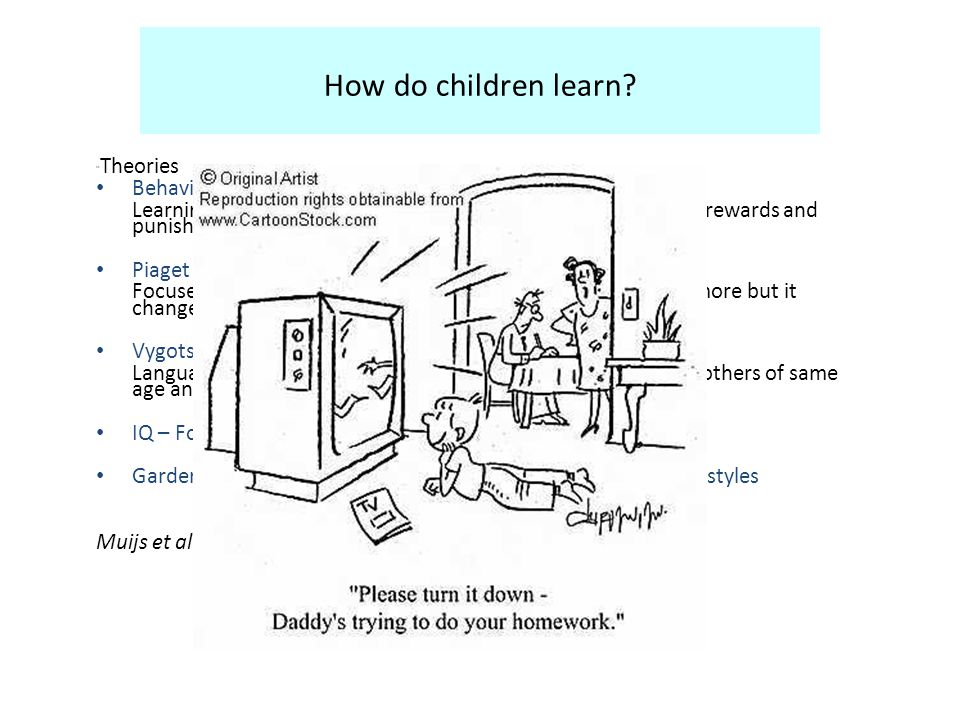 How do children learn. Theories Behaviourism Learning from external stimuli.
