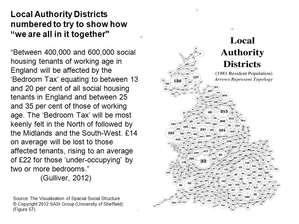 Local Authority Districts numbered to try to show how we are all in it together Between 400,000 and 600,000 social housing tenants of working age in England will be affected by the 'Bedroom Tax' equating to between 13 and 20 per cent of all social housing tenants in England and between 25 and 35 per cent of those of working age.