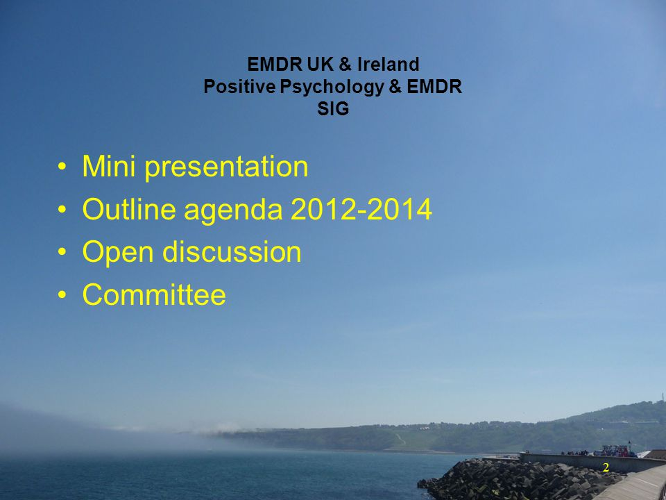 3 Chronology Anne-Marie McKelvey writes that Positive Psychology and EMDR (PP&EMDR) are a dynamic duo (EMDR Solutions II – 2009) Formal proposal to have a SIG on Positive Psychology & EMDR (April 2011) EMDR UK & I sanction setting up of PP&EMDR Special Interest Group (SIG) (May 2011) 1st presentation on PP&EMDR (3 rd AWC in Durham - October 2011) SIG chosen to exist as a www.linkedin.com online group (set up October 2011)www.linkedin.com First PhD on Positive Psychological Change after RTAs in the context of EMDR is completed (December 2011) In Search of the Antonym to Trauma published (June 2012) September 2012 - Linkedin group reaches 300 members Claudia Herbert gives keynote speech at 4 th AWC Sheffield 1st face-to-face meeting of SIG - 4 th AWC Sheffield