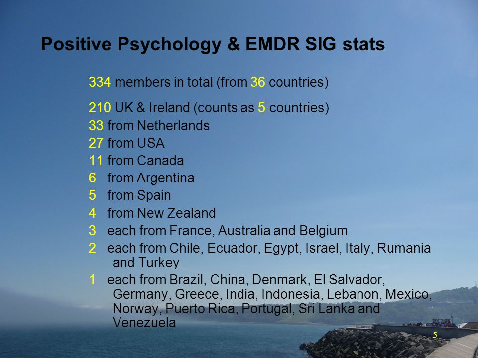 5 Positive Psychology & EMDR SIG stats 334 members in total (from 36 countries) 210 UK & Ireland (counts as 5 countries) 33 from Netherlands 27 from USA 11 from Canada 6 from Argentina 5 from Spain 4 from New Zealand 3 each from France, Australia and Belgium 2 each from Chile, Ecuador, Egypt, Israel, Italy, Rumania and Turkey 1 each from Brazil, China, Denmark, El Salvador, Germany, Greece, India, Indonesia, Lebanon, Mexico, Norway, Puerto Rica, Portugal, Sri Lanka and Venezuela