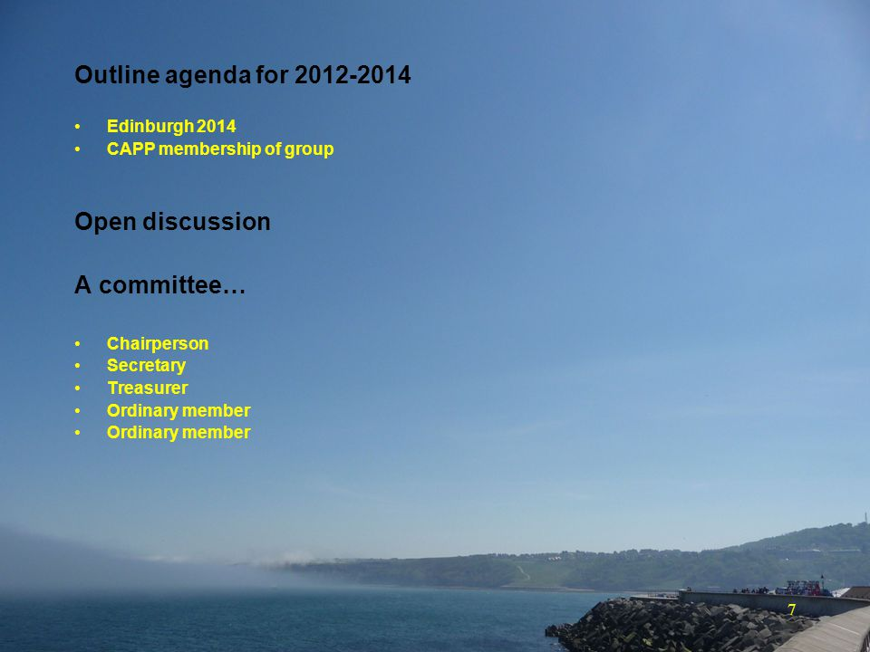 7 Outline agenda for 2012-2014 Edinburgh 2014 CAPP membership of group Open discussion A committee… Chairperson Secretary Treasurer Ordinary member