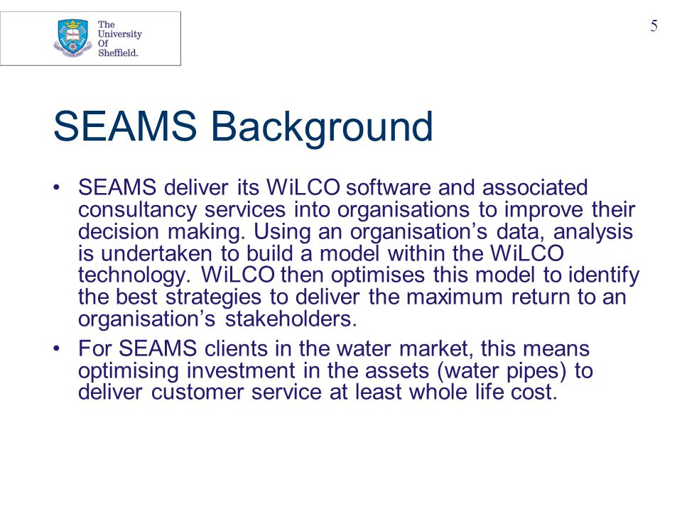 5 SEAMS Background SEAMS deliver its WiLCO software and associated consultancy services into organisations to improve their decision making.