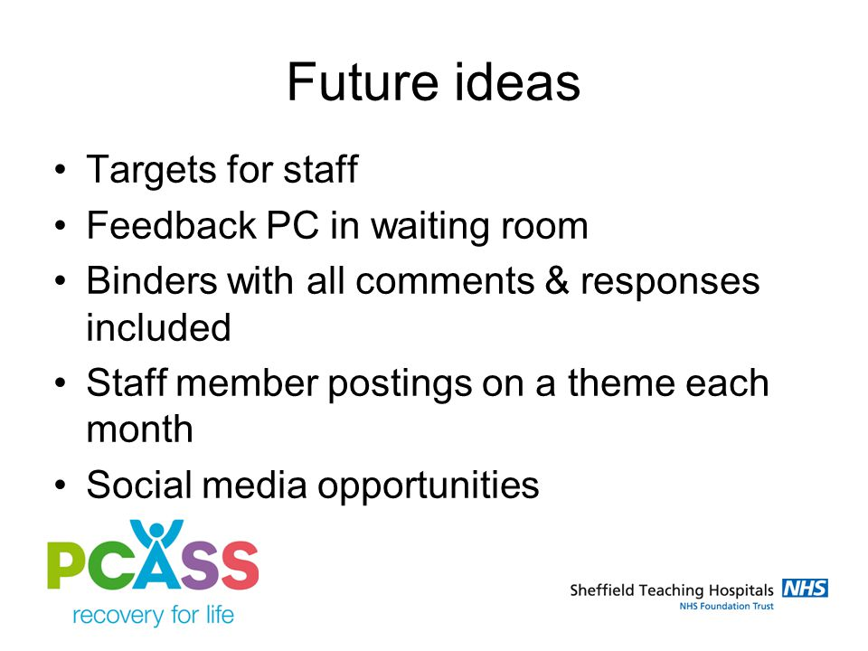 Future ideas Targets for staff Feedback PC in waiting room Binders with all comments & responses included Staff member postings on a theme each month Social media opportunities