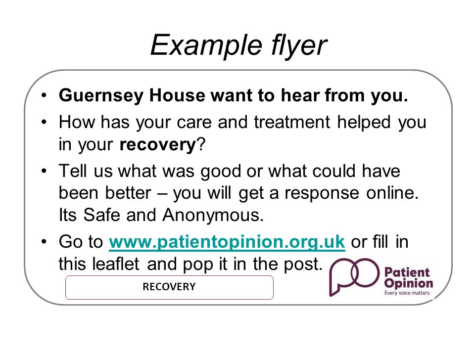 Example flyer Guernsey House want to hear from you.