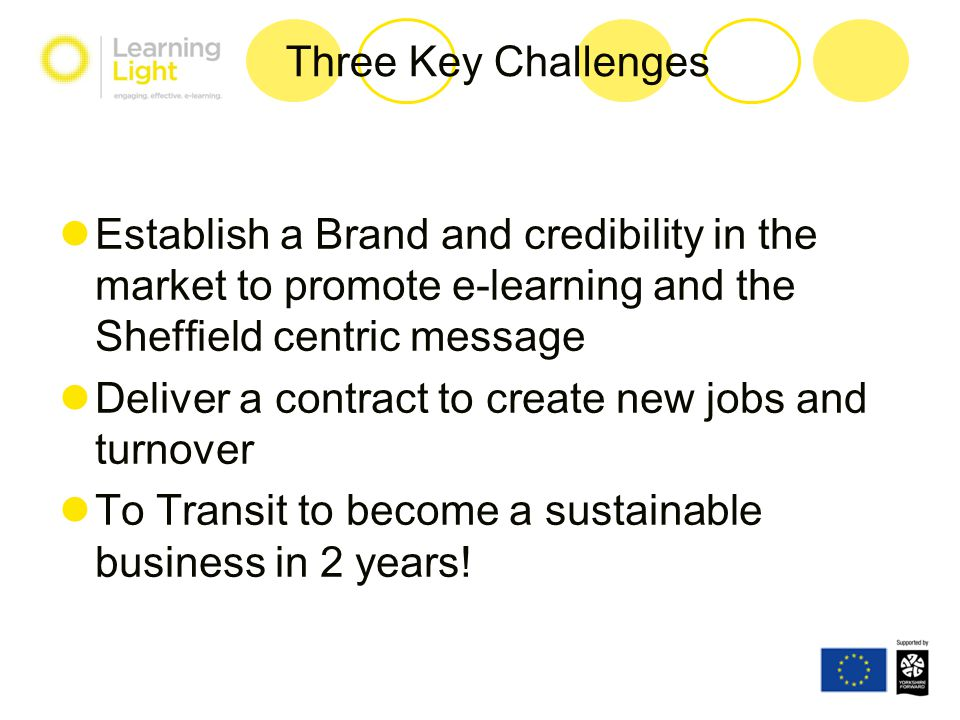 Three Key Challenges Establish a Brand and credibility in the market to promote e-learning and the Sheffield centric message Deliver a contract to cre