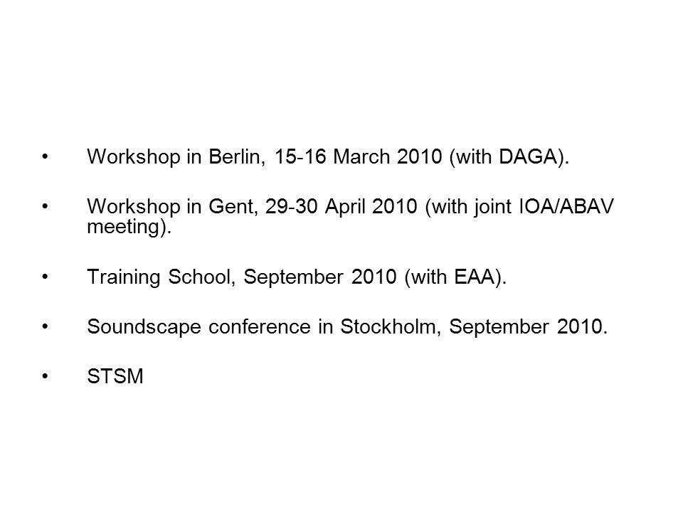 Workshop in Berlin, 15-16 March 2010 (with DAGA).