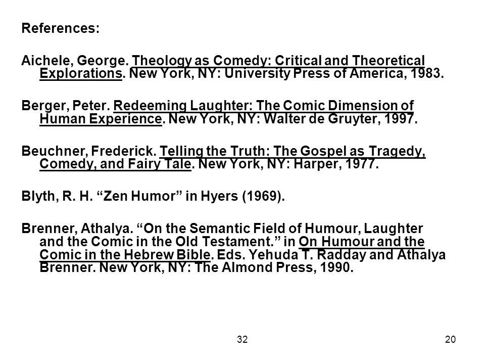 3220 References: Aichele, George. Theology as Comedy: Critical and Theoretical Explorations. New York, NY: University Press of America, 1983. Berger,
