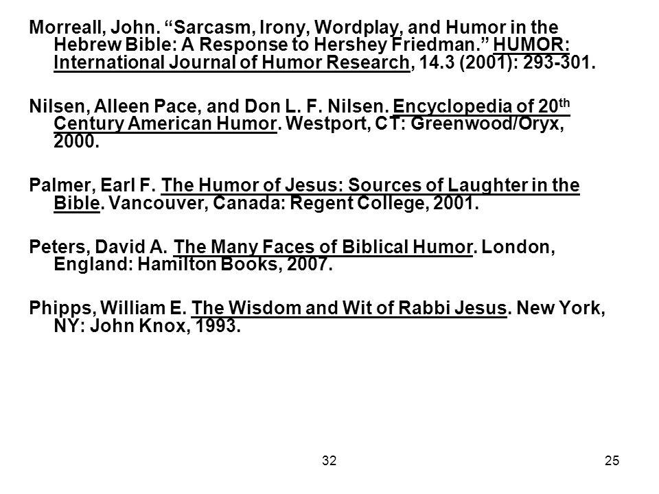 "3225 Morreall, John. ""Sarcasm, Irony, Wordplay, and Humor in the Hebrew Bible: A Response to Hershey Friedman."" HUMOR: International Journal of Humor"