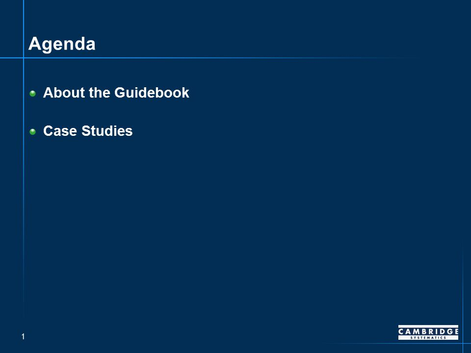 1 Agenda About the Guidebook Case Studies