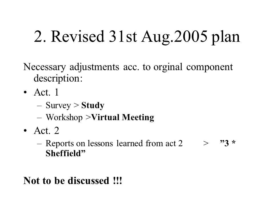 2. Revised 31st Aug.2005 plan Necessary adjustments acc. to orginal component description: Act. 1 –Survey > Study –Workshop >Virtual Meeting Act. 2 –R