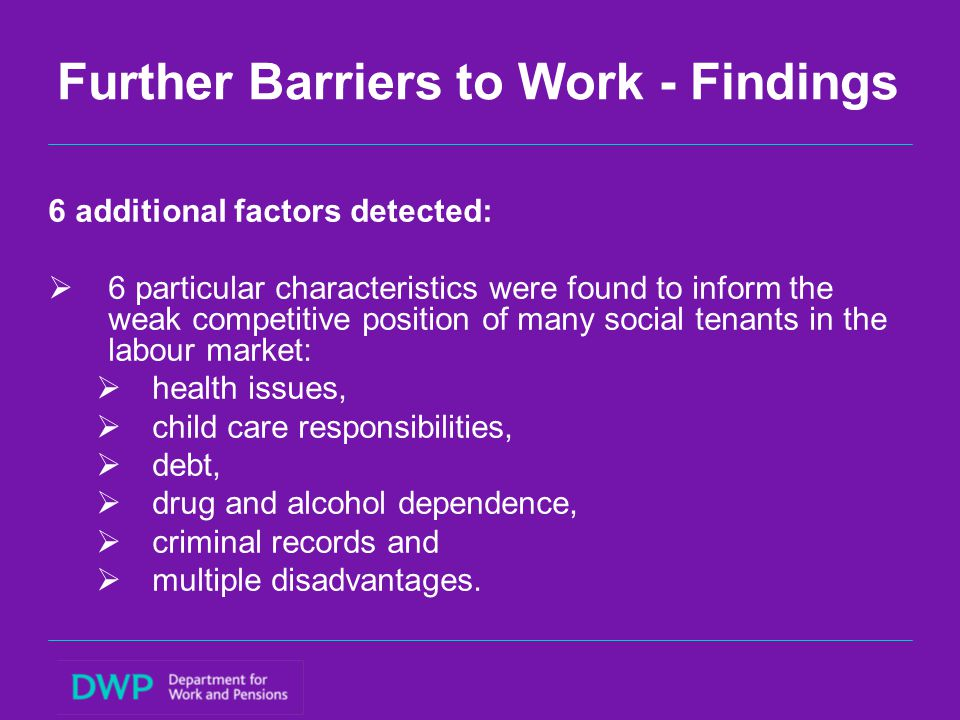 Further Barriers to Work - Findings 6 additional factors detected:  6 particular characteristics were found to inform the weak competitive position o