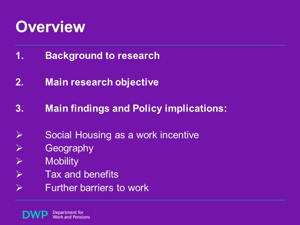 Overview 1.Backgroundto research 2.Main research objective 3.Main findings and Policy implications:  Social Housing as a work incentive  Geography 
