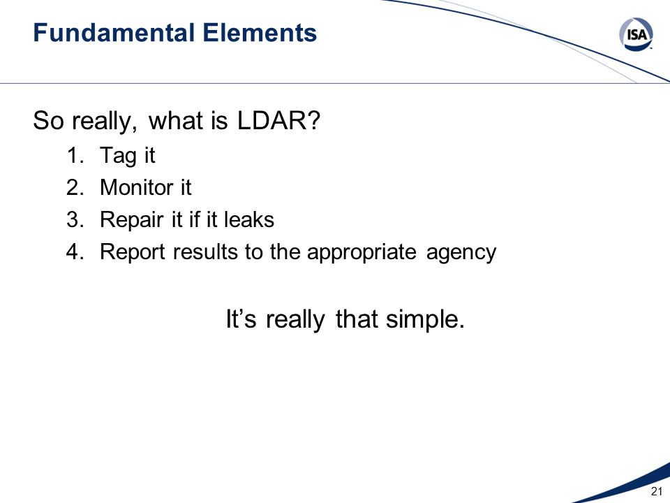 Fundamental Elements So really, what is LDAR.