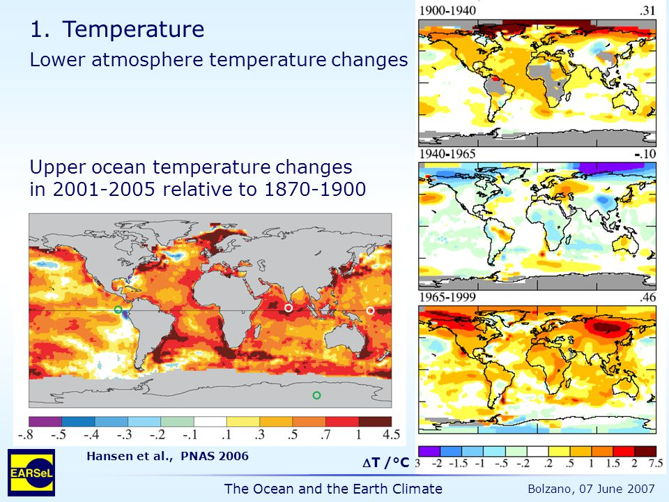 The Ocean and the Earth Climate Bolzano, 07 June 2007 1.Temperature Upper ocean temperature changes in 2001-2005 relative to 1870-1900 Hansen et al., PNAS 2006 Lower atmosphere temperature changes T /°C