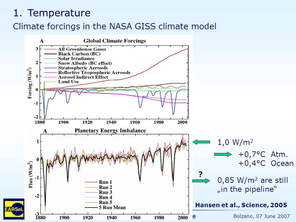 "The Ocean and the Earth Climate Bolzano, 07 June 2007 Hansen et al., Science, 2005 1,0 W/m 2 0,85 W/m 2 are still ""in the pipeline"" +0,7°C Atm. +0,4°C"
