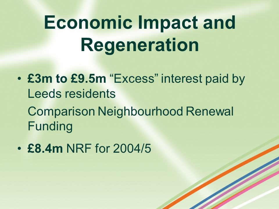 Economic Impact and Regeneration £3m to £9.5m Excess interest paid by Leeds residents Comparison Neighbourhood Renewal Funding £8.4m NRF for 2004/5
