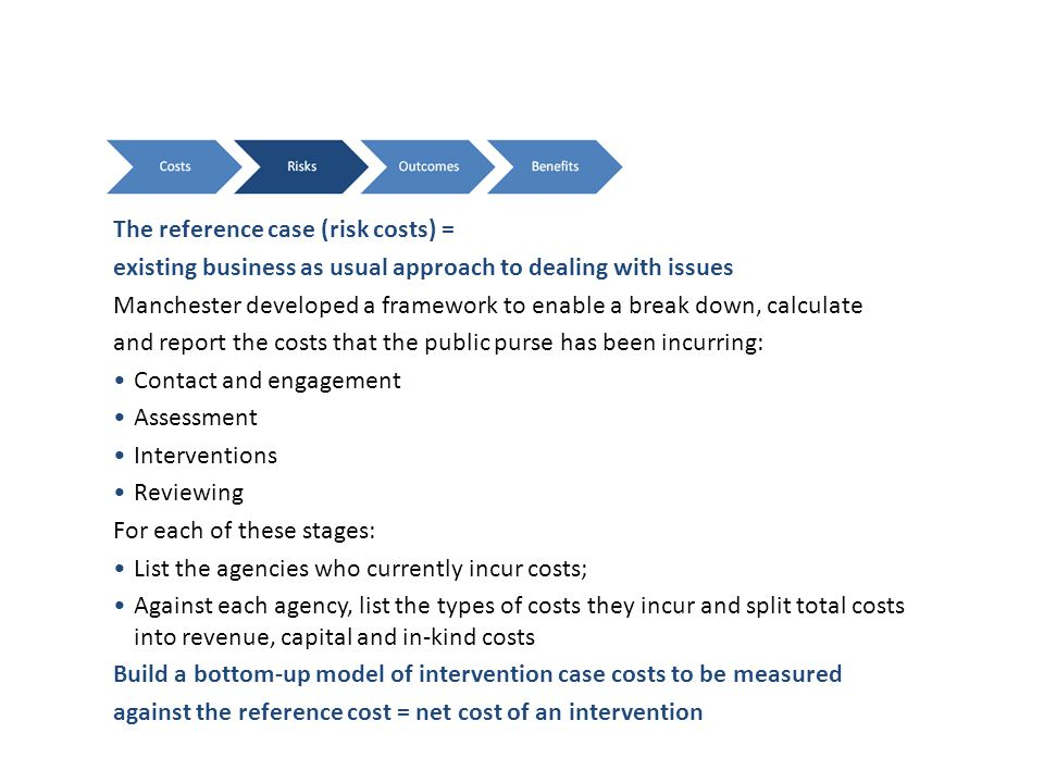 The reference case (risk costs) = existing business as usual approach to dealing with issues Manchester developed a framework to enable a break down, calculate and report the costs that the public purse has been incurring: Contact and engagement Assessment Interventions Reviewing For each of these stages: List the agencies who currently incur costs; Against each agency, list the types of costs they incur and split total costs into revenue, capital and in-kind costs Build a bottom-up model of intervention case costs to be measured against the reference cost = net cost of an intervention