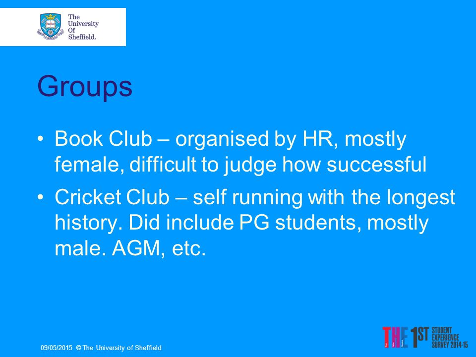 Groups Book Club – organised by HR, mostly female, difficult to judge how successful Cricket Club – self running with the longest history.