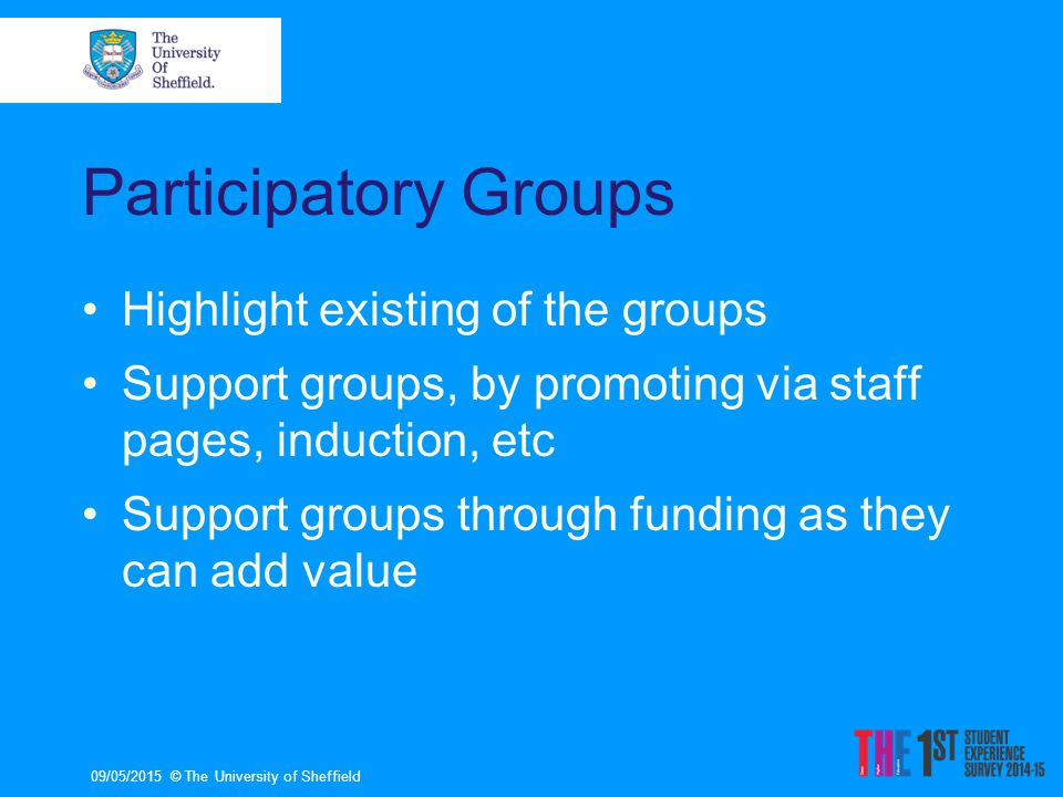Participatory Groups Highlight existing of the groups Support groups, by promoting via staff pages, induction, etc Support groups through funding as they can add value 09/05/2015© The University of Sheffield