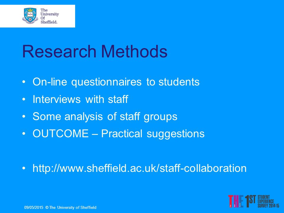 Research Methods On-line questionnaires to students Interviews with staff Some analysis of staff groups OUTCOME – Practical suggestions http://www.sheffield.ac.uk/staff-collaboration 09/05/2015© The University of Sheffield