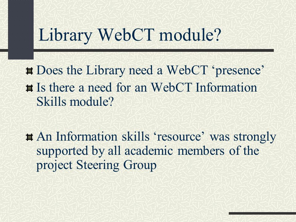 Library WebCT module.