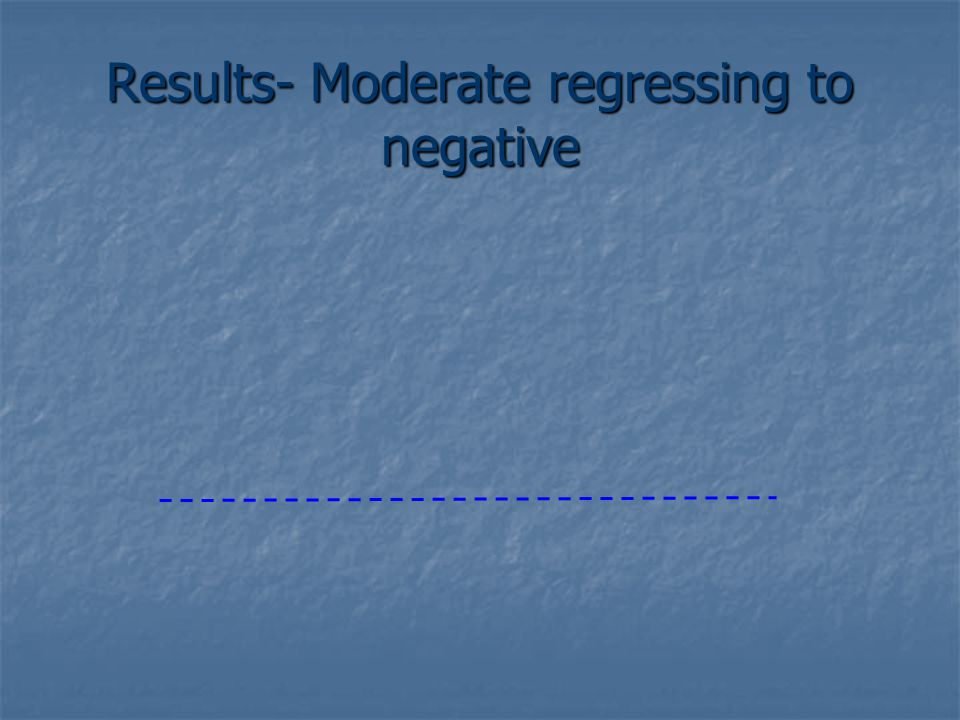 Results- Moderate regressing to negative