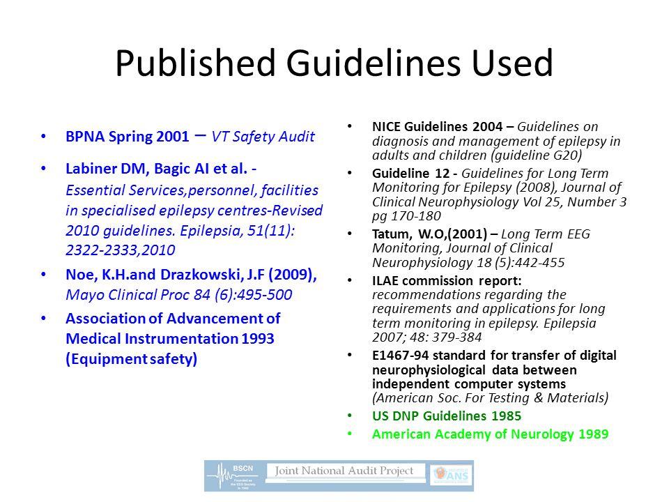 Published Guidelines Used BPNA Spring 2001 – VT Safety Audit Labiner DM, Bagic AI et al.