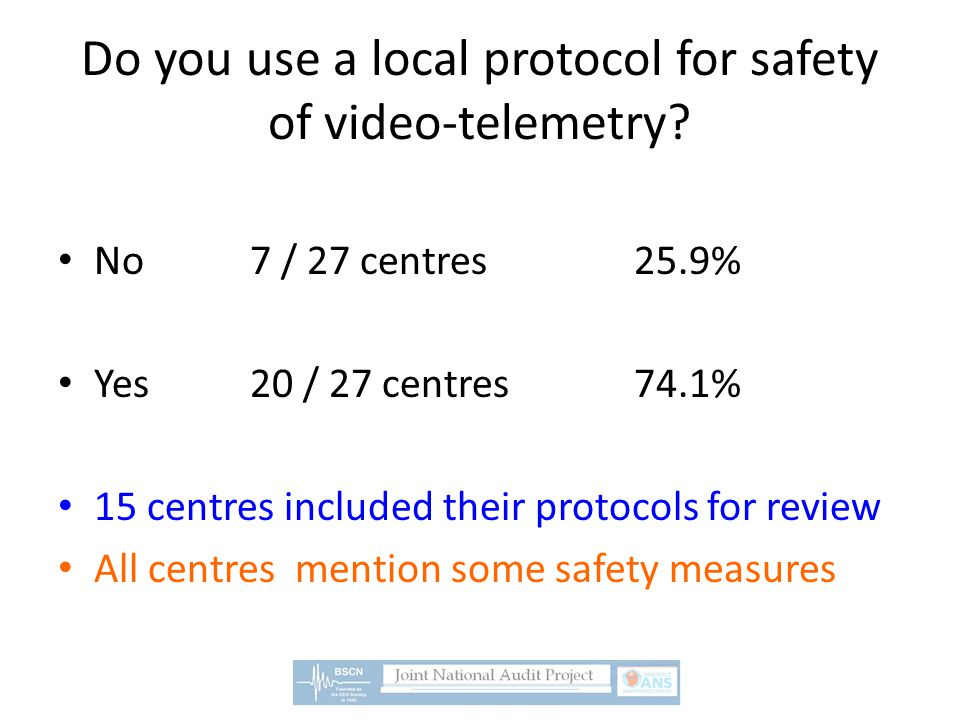 Do you use a local protocol for safety of video-telemetry? No7 / 27 centres25.9% Yes20 / 27 centres74.1% 15 centres included their protocols for revie
