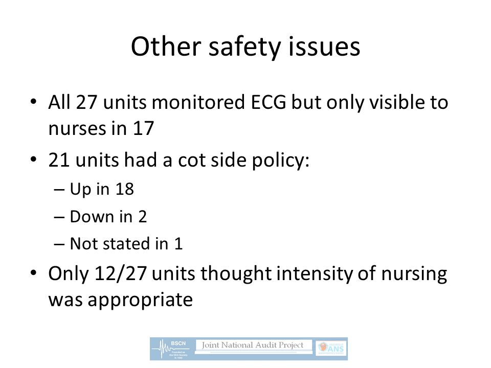 Other safety issues All 27 units monitored ECG but only visible to nurses in 17 21 units had a cot side policy: – Up in 18 – Down in 2 – Not stated in 1 Only 12/27 units thought intensity of nursing was appropriate