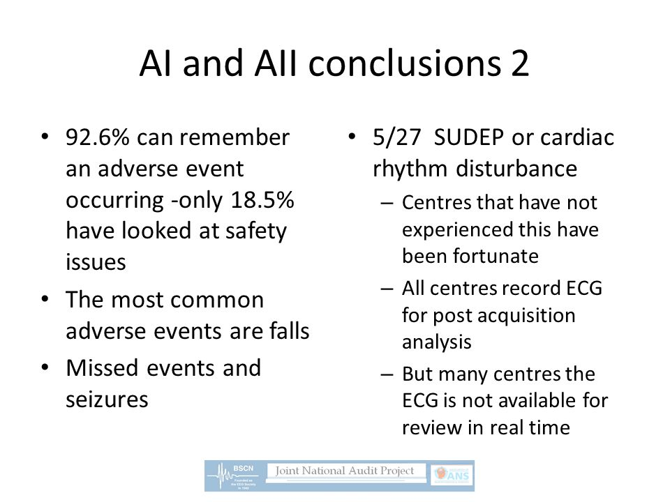 AI and AII conclusions 2 92.6% can remember an adverse event occurring -only 18.5% have looked at safety issues The most common adverse events are fal