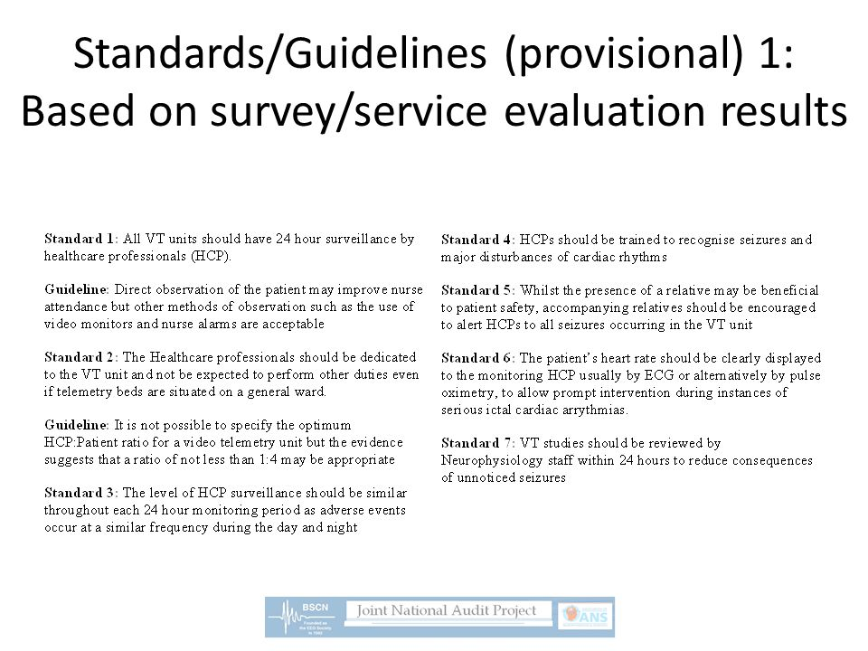 Standards/Guidelines (provisional) 1: Based on survey/service evaluation results
