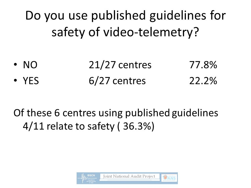 Do you use published guidelines for safety of video-telemetry.