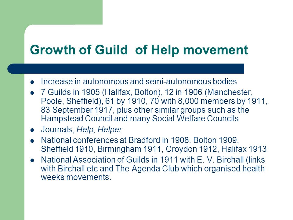 Growth of Guild of Help movement Increase in autonomous and semi-autonomous bodies 7 Guilds in 1905 (Halifax, Bolton), 12 in 1906 (Manchester, Poole,