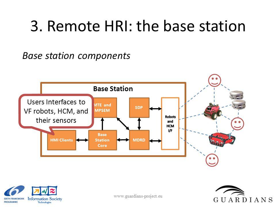 3. Remote HRI: the base station Base station components www.guardians-project.eu MTE and MPSEM Base Station Core MDRD HMI Clients Base Station SDP Use