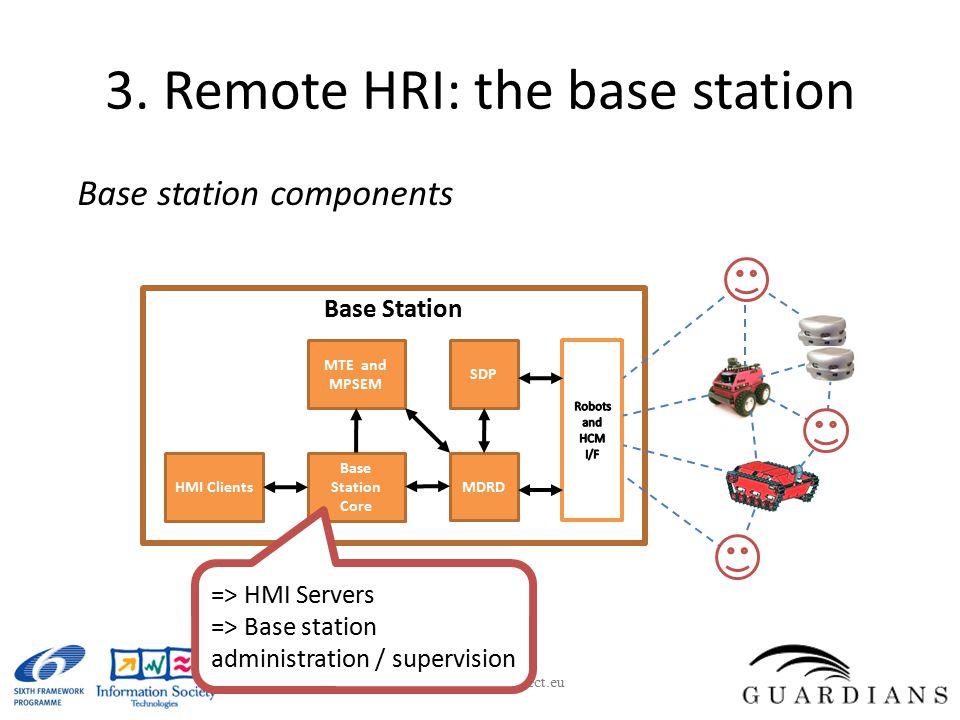 3. Remote HRI: the base station Base station components www.guardians-project.eu MTE and MPSEM Base Station Core MDRD HMI Clients Base Station SDP =>