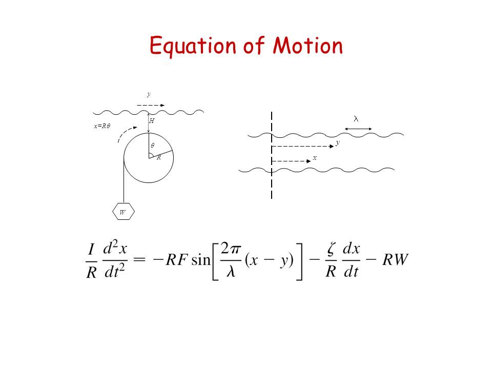 Equation of Motion  Relevant parameters:  Uniformly moving rack: